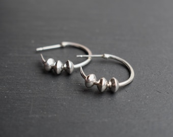 Small silver hoop earrings with charm - Small hoops, silver hoops, sterling silver earrings, 925 hoops, everyday jewelry, minimal, modern