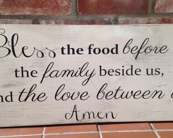 Bless the food before us, the family beside us, and the love between us. Handpainted wood sign. Kitchen, dining, Mother's Day, housewarming