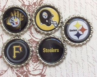 SET of 5 - SET 2 Steelers Bottle Caps For Pendants, Hairbows Hair Bow Centers - Ready to use