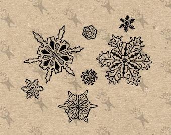 Jahrgang Weihnachten Schneeflocken Instant Download Digital bedruckbare Clipart-Grafik Jute Stoff übertragen Eisen auf Kissen Totes Handtücher HQ300dpi