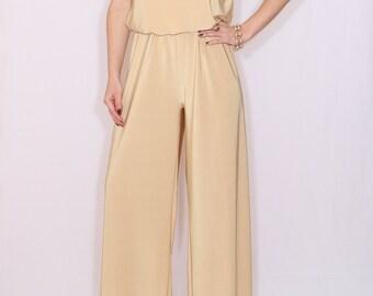 Wide leg  golden jumpsuit Halter jumpsuit Women jumpsuit  Party dress