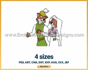 Robin Hood, Maid Marian - Holiday Inspired Disney Logo Character Designs - 4 sizes Embroidery