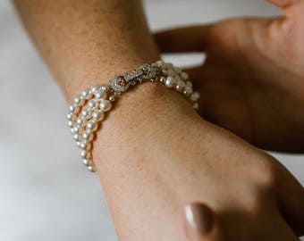 Pearl Bridal Bracelet Pearl Wedding Bracelet Three Strand Bridal Cuff Bracelet Swarovski Pearl and Crystal Bridal Bracelet Bridal Jewelry