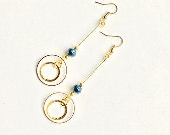 Gold hoop, earrings, jewelry, dangle earrings, drop earrings, statement earrings, long earrings, long dangle earrings, unique dangle