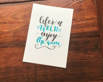 Handlettered Beach Print