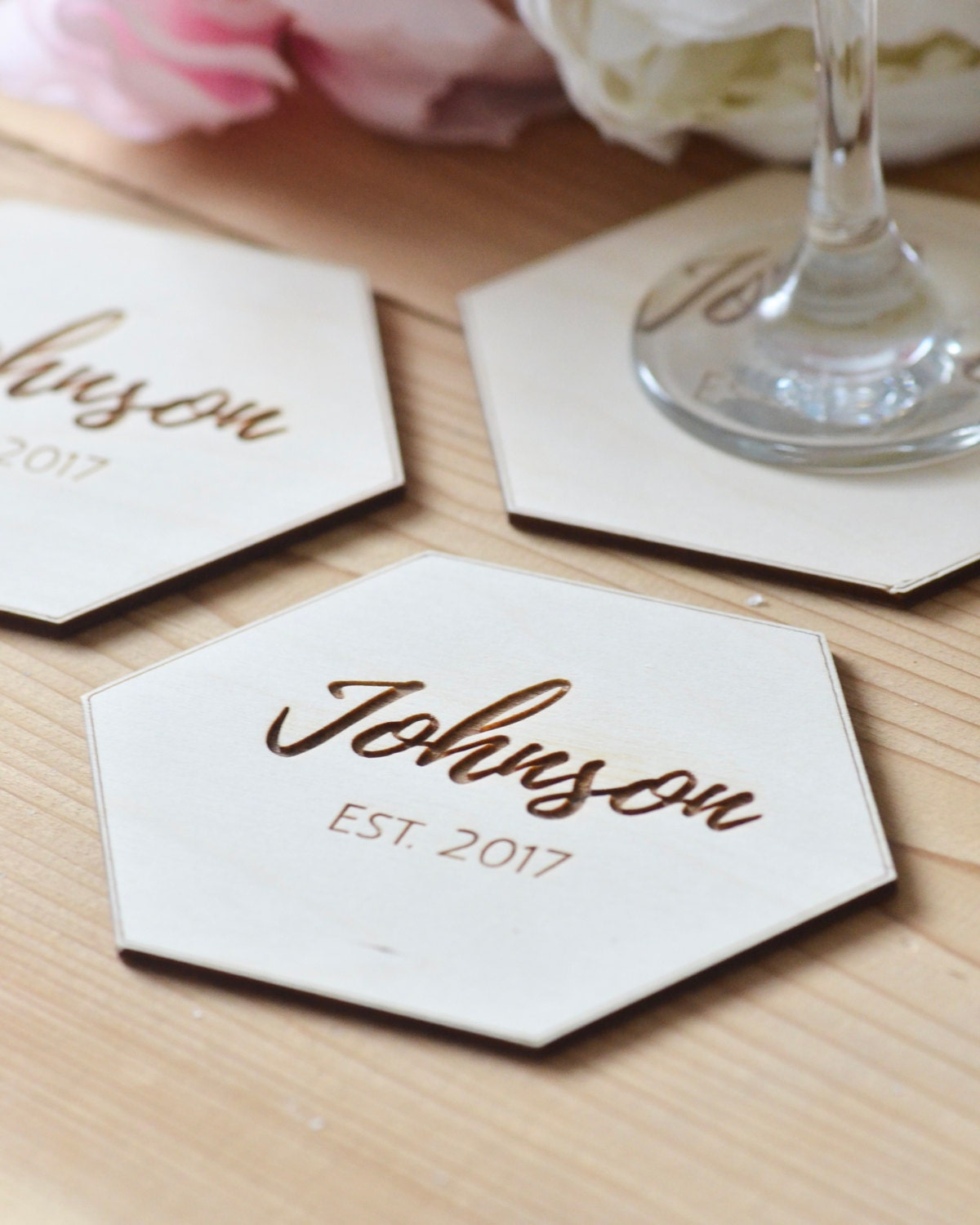 Personalized hexagon coasters Personalized gift wedding
