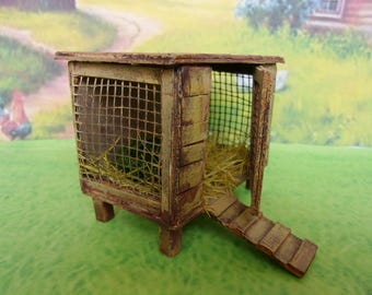 Coop for hens. Dollhouse. Puppet garden. Сhicken coop. Handcrafted miniature. For doll House Scale 1:12