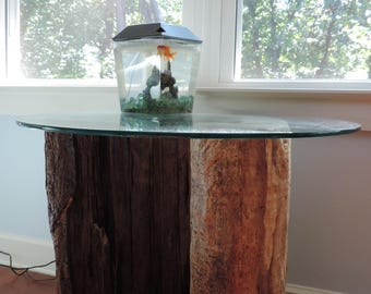 Rustic Yet Modern Reclaimed Wood Side Table With Glass Top