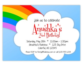 Rainbow Invitation - ROYGBIV Rainbow Colors and Cloud, Red Green Blue Rainbow Personalized Birthday Party Invite - Digital Printable File