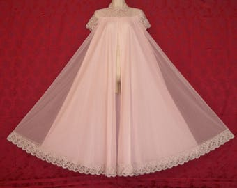 Exquisite vintage Claire Sandra by Lucie Ann  pink double chiffon and lace peignoir, robe, dressing gown