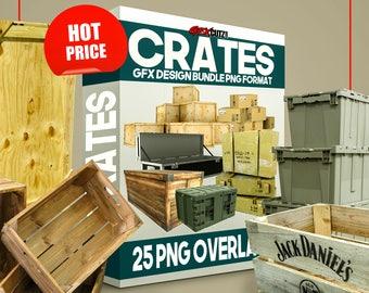 SALE* Crates GFX Design Bundle PNG Format - No Background Images