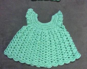 Handmade Angel Pinafore Baby Dress with Headband
