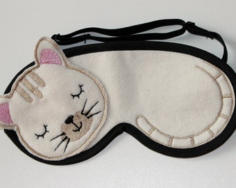 White Cat Sleep Mask, Travel Mask, Comfortable Sleeping Eye Mask, Beauty eye mask, Travel sleeping mask, Gift For Her, Gift sleep mask