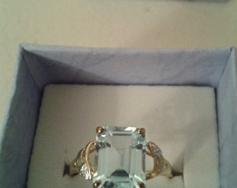 Vintage Ring - 9ct Gold Topaz and Diamond Ring Size 7.25 (US), O 1/2 (UK)