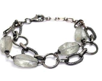 NEW! Bracelet Aquamarine and Sterling silver, womans, adjustable, rocker, boho, artisan,  raw, statement - free worldwide shipping!