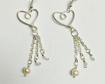Silver Wire Heart Triple Chain Freshwater Pearl And Crystals Dangling Earrings