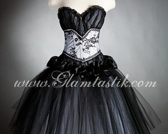 Custom Size black and white burlesque corset dress costume