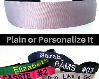 Gray Headband - Wide Headband - Thick Headband - Running Headband - Non Slip Headband - Sports Team Headband - Personalized Headband - Yoga