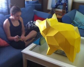 PiggyBear 3d papercraft. You get a PDF digital file template and instruction for DIY minimalist paper pig.