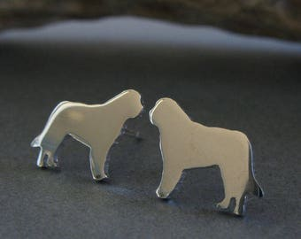 St. Bernard post earrings. Tiny saint dog studs silhouette jewelry. Sterling silver, 14k gold filled or solid yellow gold Rescue Dog gift
