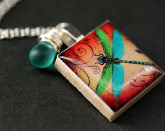 Turquoise Dragonfly Necklace. Scrabble Tile Charm Necklace with Frosted Turquoise Teardrop. Handmade Jewelry.