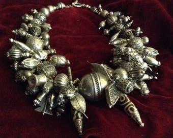 Silver Signature Necklace,collected beads,Ethiopian master craftsmen,Tibetan,Nepal,Indian artisans,Chinese,Indonesian,Mali,Nepal Dzis