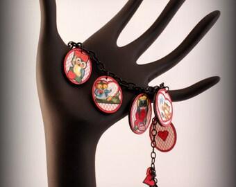 Owl bracelet - Owl Jewelry - Heart bracelet - heart jewelry - Valentine Bracelet - Charm bracelet - Valentine jewelry - Vintage Art - Owl