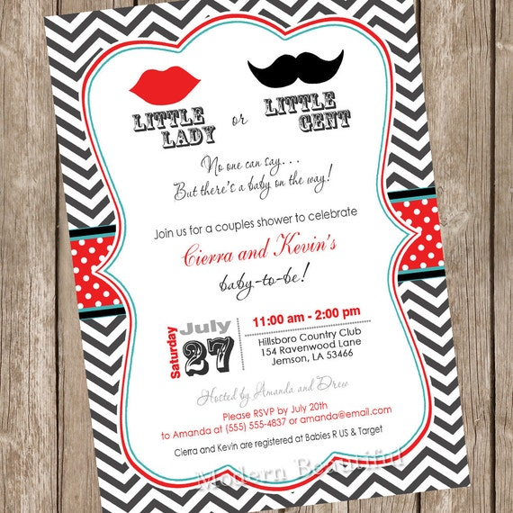 Lips and mustache gender reveal baby shower invitation like this item filmwisefo Image collections