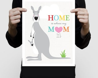 kangaroo print, kangaroo art, gift for new mum / mom, aussie nursery art , australian animal art, australian illustration, mothers day print