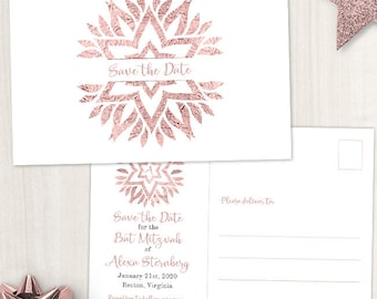Rose Gold Foil Look Star Mandala Bat Mitzvah Save the Date Postcard or Flat Card; Printable, Evite or Printed (US Only) Announcements