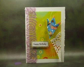 Happy Birthday Card/ Origami Crane Card/ Love Crane Card/ Hand Made Greeting Card/ Art Card