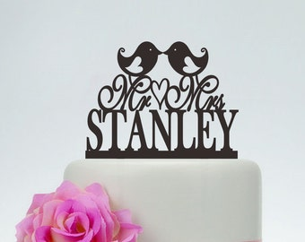 Love Birds Cake Topper,Custom Cake Topper,Mr And Mrs Cake Topper With Surname,Personalized Cake Topper,Anniversary Cake Topper C092