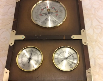 Vintage Selsi Precision Weather Instruments Brass Accent Japan  Made Wall Decor Man Cave Shabby Chic  Desk Decor, Farmhouse Chic, Rustic Art