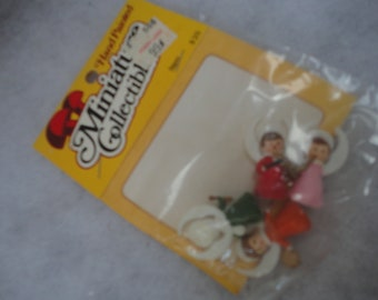 Vintage Unopened Miniature Collectible Angels, Angels, Miniature, Miniature Angels, Made in Hong Kong, Plastic Angels, Christmas Crafts