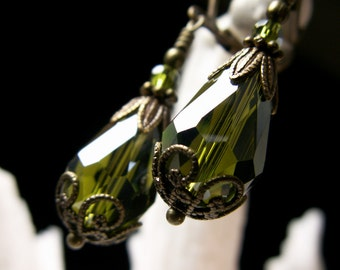 Olivine Green Bronze Earrings, Gothic Victorian, Moss Olive Crystal Teardrops Steampunk Edwardian Bridal Drops, Titanic Temptations Jewelry