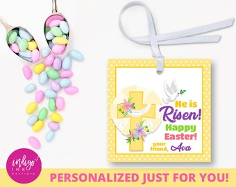 Christian gift tag etsy personalized christian easter tag he is risen party favor tags easter gift tags negle Image collections