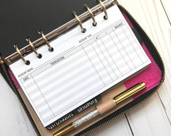 Checking Bank Account Register Horizontal | Printed Planner Inserts For Personal Size Planners