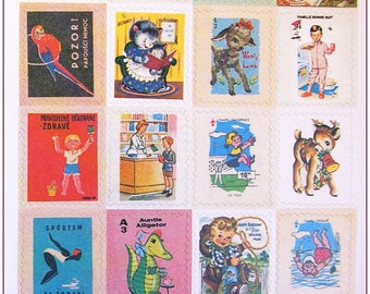 """Stamp sticker stickers for scrapbooking retro vintage """"model 8"""" 1 embroidery sheet of 20 stamps"""