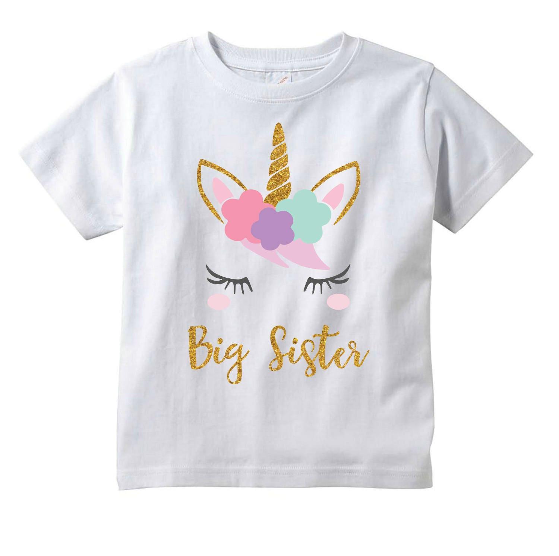 Girls Unicorn Big Sister T-Shirt Unicorn Baby Shower Gift