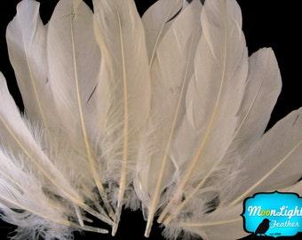 Ivory Goose Feathers, 1/4 lb - IVORY Goose Satinettes Wholesale Loose Feathers (bulk) : 2330