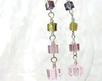 Pink & Green Crystal Cube Drop Earrings - Silver-filled