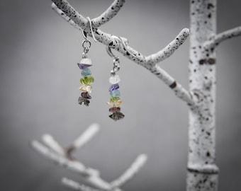 Chakra Raw crystal earrings Mindfulness Gift Minimal earrings boho earrings crystal earrings silver earrings raw stone earrings 7 chakras