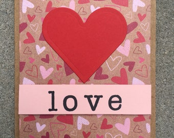 Love Anniversary Handmade Greeting Card Heart Red Kraft Mini Hearts Pink