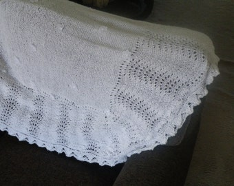"Hand Knitted Baby Shawl appox 36""x 36"""