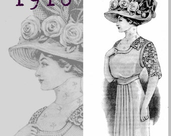 Summer Dress- Edwardian Reproduction PDF Pattern - 1910's -  made from original 1910 La Mode Illustree Pattern