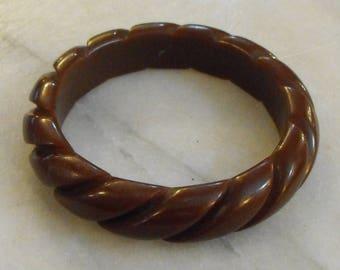 Brown Bakelite Bangle Bracelet