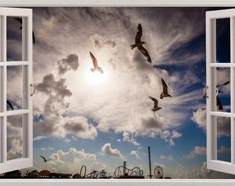 Sky Birds Clouds 3D Effect Wall Sticker Art Decal Mural 578