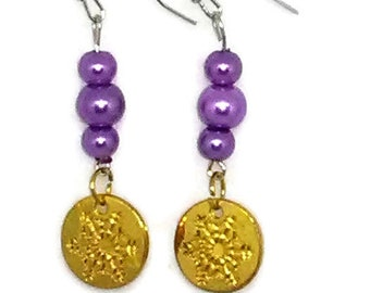 Gold Snowflake Charm with Purple Glass Pearls Beaded Earrings