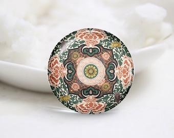 Handmade Round Flower Photo Glass Cabochons (P3466)