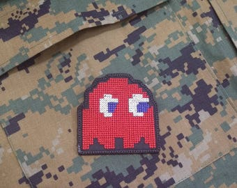 Embroidered Pac-Man Ghost Hook and Loop Patches